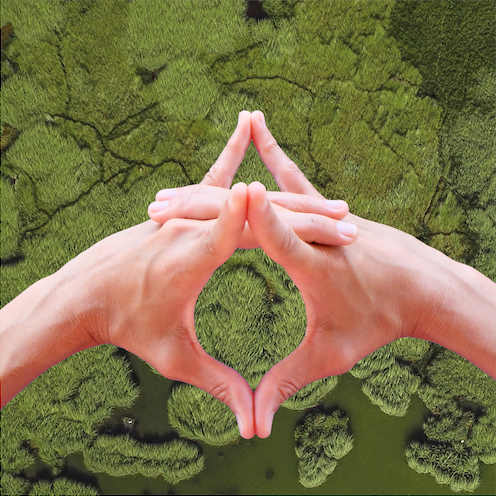 hand mudra for avoiding self-sabotage over a green landscape